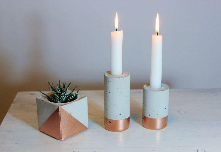 evtl in anderer Farbkombi? Kerzenständer aus Beton // Vase // Kupfer  von Frida Karo auf DaWanda.com