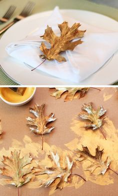 Painted Leaf Napkin Rings | Click for 30 DIY Christmas Table Centerpiece Ideas | Easy Christmas Table Decorations for Kids