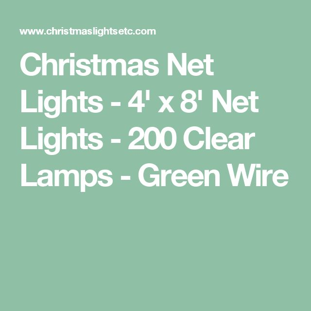 Christmas Net Lights - 4' x 8' Net Lights - 200 Clear Lamps - Green Wire