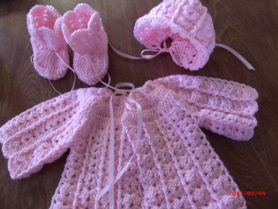 Vintage estilo festoneado encantador cuento de hadas de suéter set 0 a 3 meses