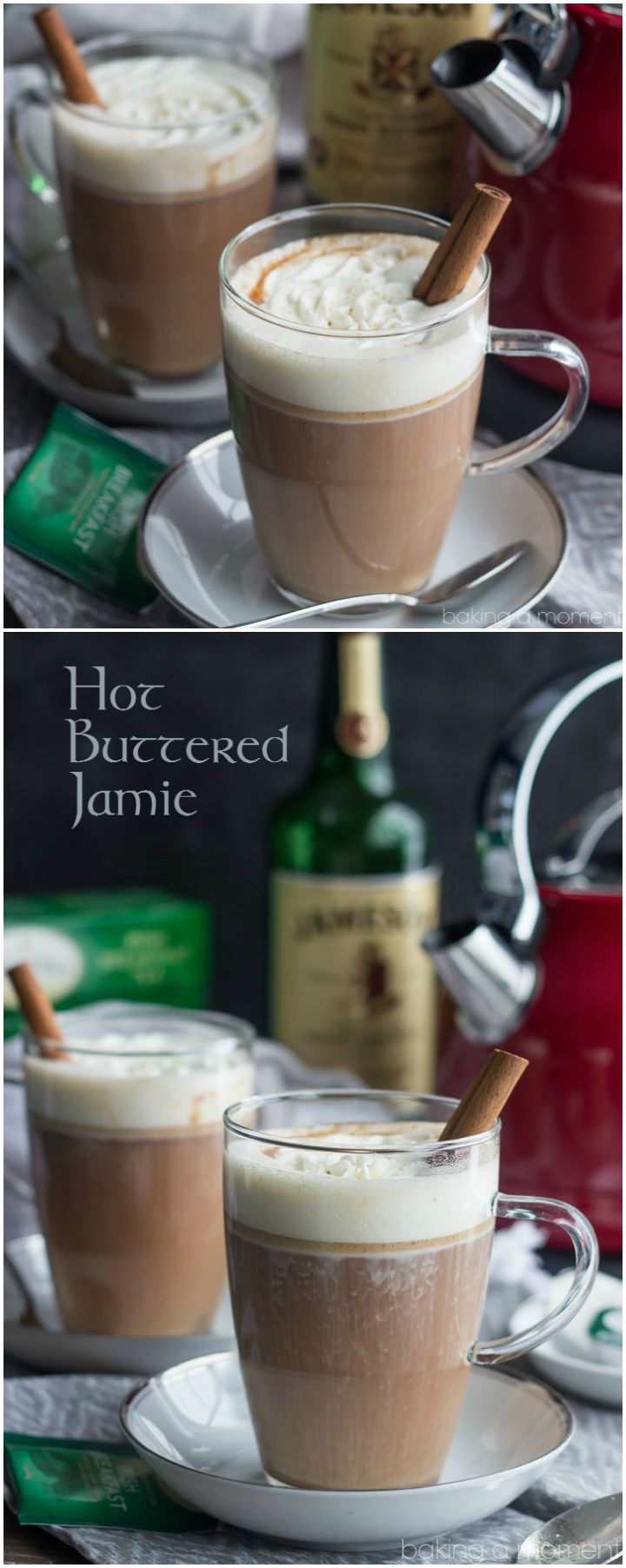 Warm up with a Hot Buttered Jamie! It's a comforting hot toddy made with strong black tea and Irish whiskey. Perfect for sipping on a cold afternoon! ~ http://bakingamoment.com