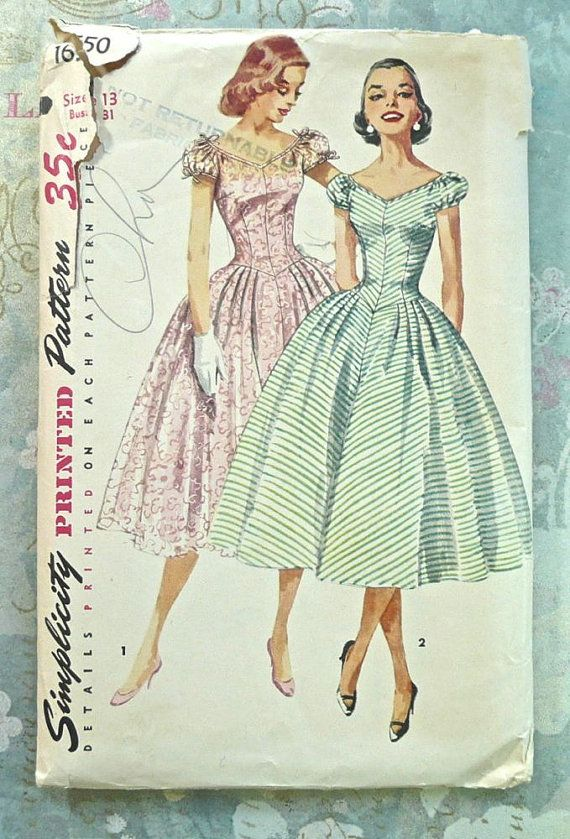 Simplicity 1650  Vintage 1950s Womens Dress Pattern by Fragolina, $14.00