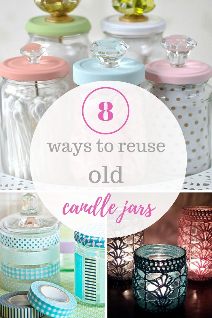 Candle Jars, Candle Jar Repurpose, Things to Do With Old Candle Jars, Repurpose Projects, Organization, Home Organization, DIY Organization, DIY home Decor, Easy Home Organization, Craft Projects, Easy Craft Projects, Craft Projects for Kids, Popular Pin