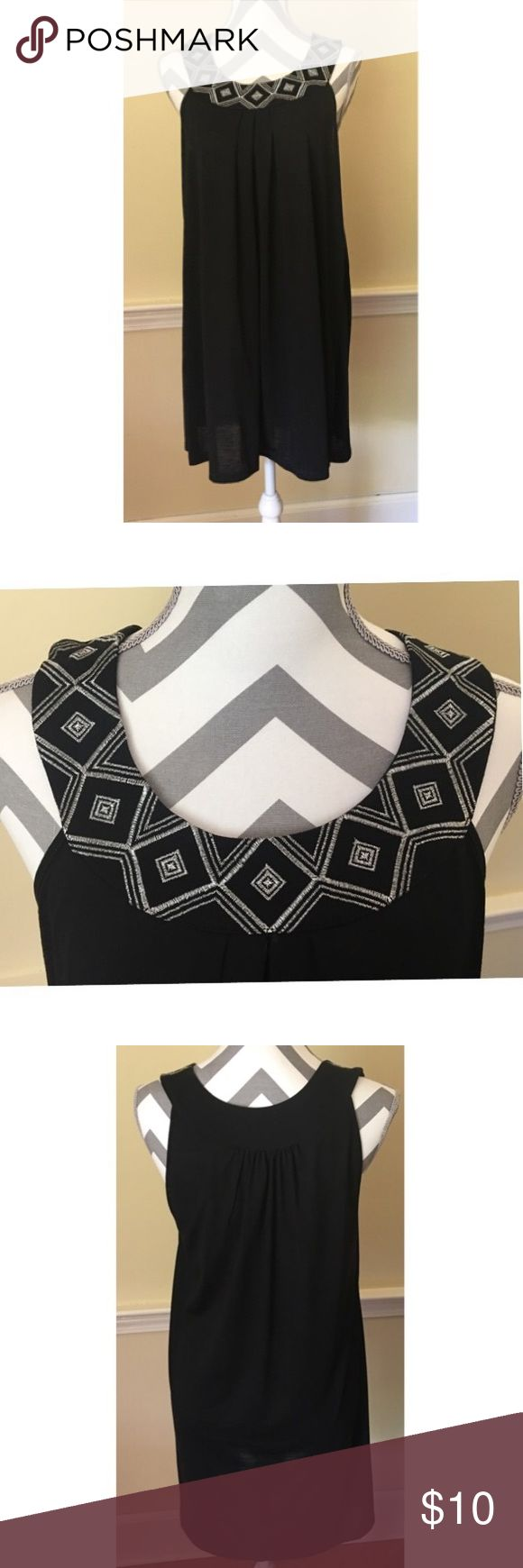 Black Bathing Suit Cover This is the perfect cover up for your next pool party. Size Small with silver embellishment on the neckline. Like New Condition New Directions Swim Coverups