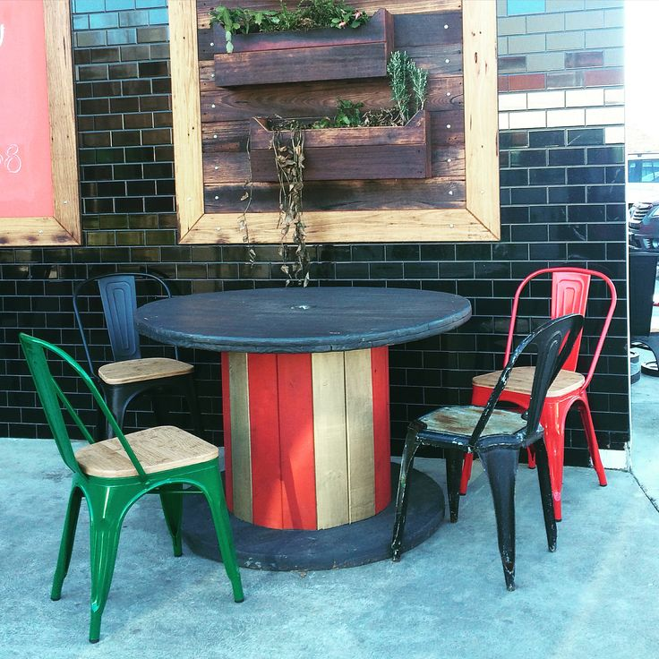 """""""Rabbit Trap Timber's"""" Handcrafted Recycled Timber Circus Spool Table + Hanging Garden -Cafe Fit out for Cafe Rosso, Bowral by Rabbit Trap Timber!"""