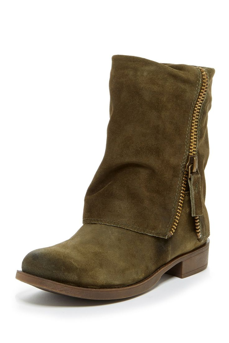 """Thomasa Boot in dark green suede by Nine West $149 - ($79) $56 @HauteLook. - Round toe - Suede construction - Foldover shaft with zip trim detail - Pull-on - Approx. 7.5"""" shaft height, 14"""" opening circumference - Approx. 1.25"""" heel - Leather upper, manmade sole ***This item cannot be shipped to Canada.***"""