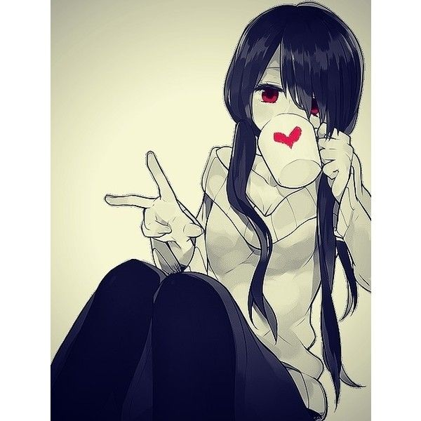 Black and white anime girl drinking from cup with red - Black and white anime pictures ...