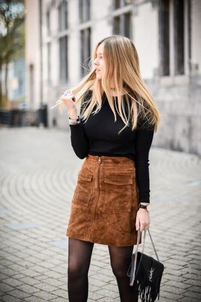 Skirt: suede black top college back to school pocket fall office outfits fall…