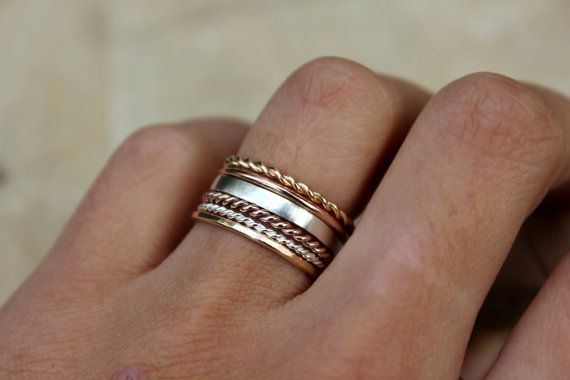 2 Tone Stacking Rings Set of 3 - Gold-Fill and Sterling Silver Twist Rings, karma jewelry, eternity ring, nautical theme on Etsy