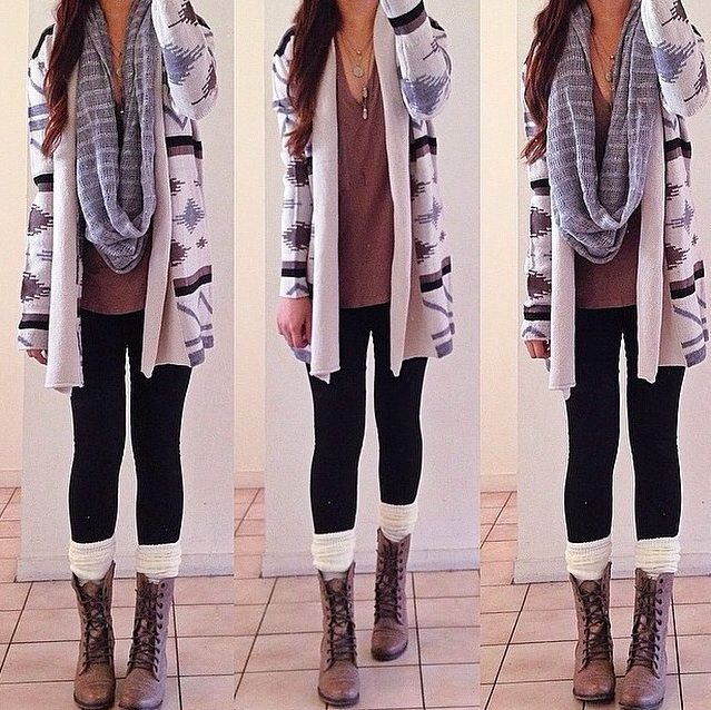 light brown combat boots, white/ivory wool socks, black leggings, loose brown shirt, cardigan sweater and unwrapped infinity scarf.