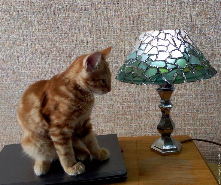 """Купить Витражная лампа """"Градиент"""", морское стекло - бирюзовый, лампа, лампа тиффани, морское стекло"""