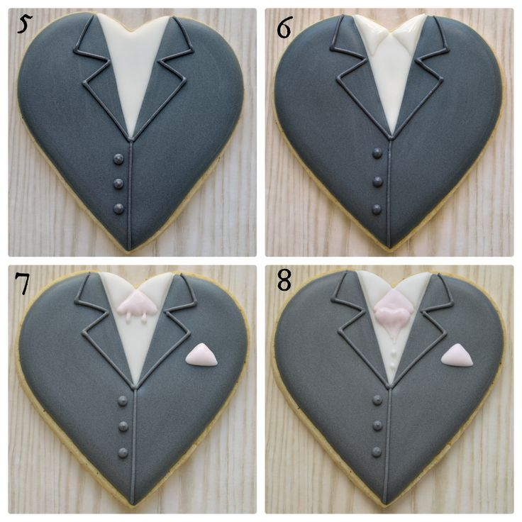 Groom on a heart cookies, tutorial here: http://www.honeycatcookies.co.uk/2014/07/groom-on-heart-cookie-tutorial.html