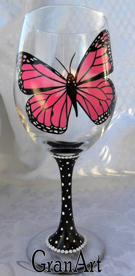 Butterfly Wine Glasses, Monarch Wine Glasses, Hand Painted Designs by GranArt