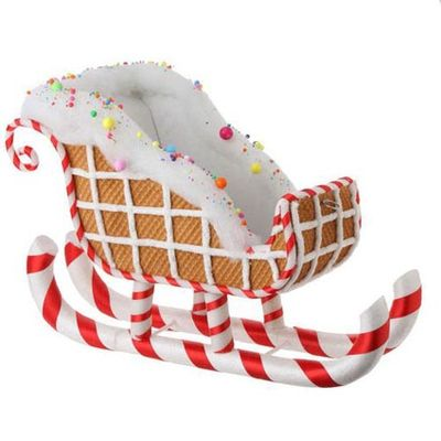 """RAZ Waffle Gingerbread Sleigh  Red/White/Brown Made of Polyfoam Measures 15"""" X 22"""" X 10"""" For Decorative Use Only  RAZ Candy Wonderland Collection"""