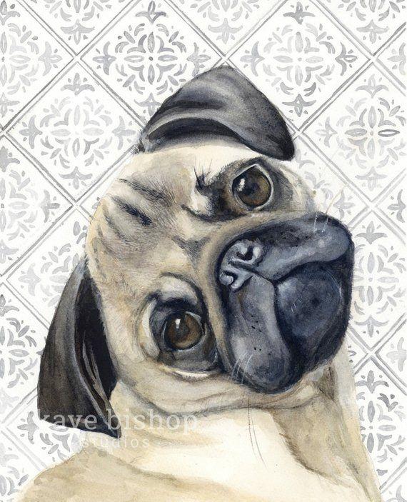 Pug Watercolor Painting Animal Art Pug Painting Pug Watercolor