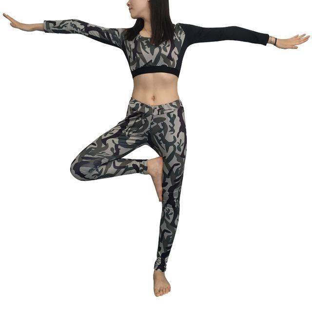 Sexy Girls Waist Gym Tracksuit Fitness Tights Yoga Set