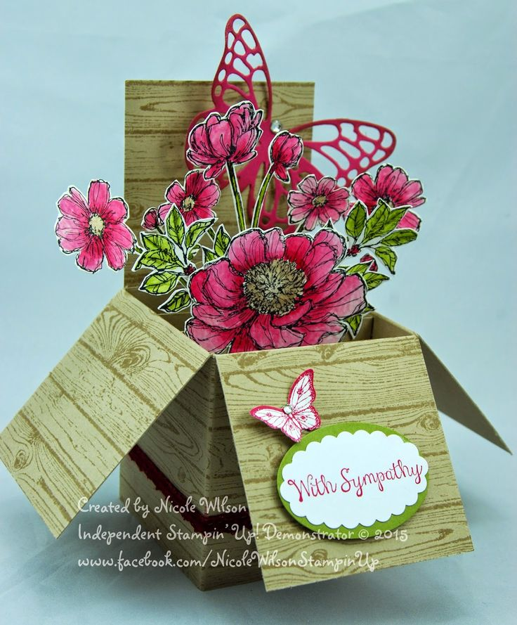 http://www.nicolejuliewilson.blogspot.com.au/ The Artful Stampers Blog Hop Challenge number 27. Box Card. Colours Rose Red, Old Olive, Crumb Cake and Whisper White using Hardwood, Butterfly thinlits, Bloom with Hope and Papillon Potpourri www.facebook.com/NicoleWilsonStampinUp