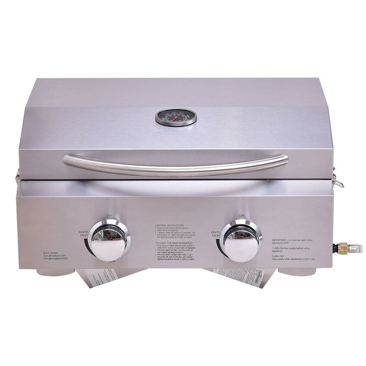 Costway 2 Burner Portable BBQ Table Top Propane Gas Grill Stainless Steel (Silver)