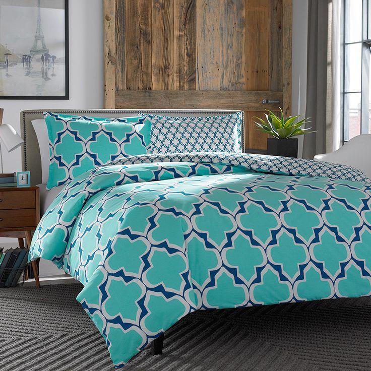 City Scene Brodie Teal Comforter & Duvet Set. @cityscenehome #teal #BeddingStyle #bedding #bedroom