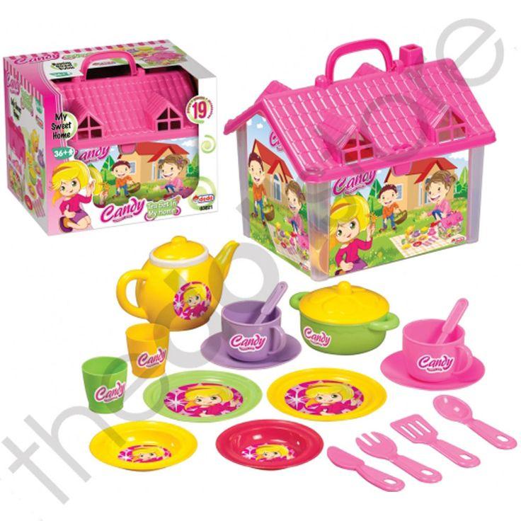 Toy Tea Set Kids Teapot Role Play Childrens Picnic Party Carry Case House 19pc