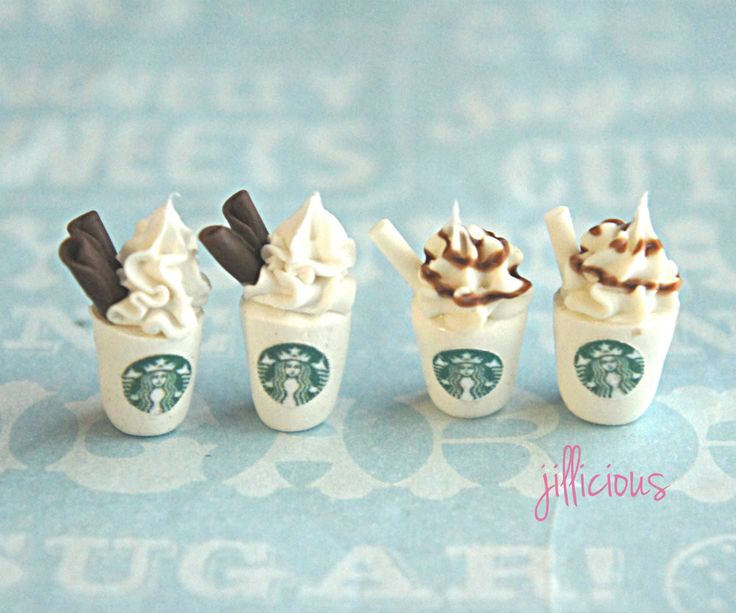 These earrings feature a pair of mini Starbucks drinks sculpted from polymer clay. Each measures about 1.5 cm tall and is securely attached to a nickel free, silver tone post. Please include the desig