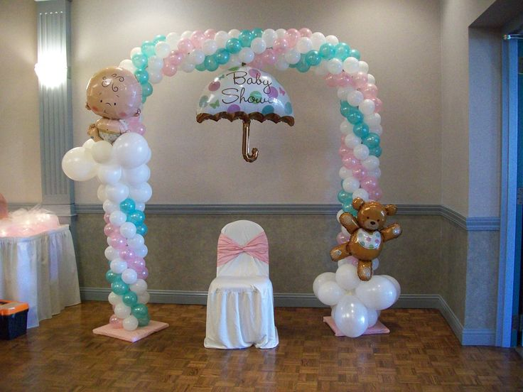 Balloon arch for a baby shower baby shower pinterest for Baby shower decoration ideas with balloons