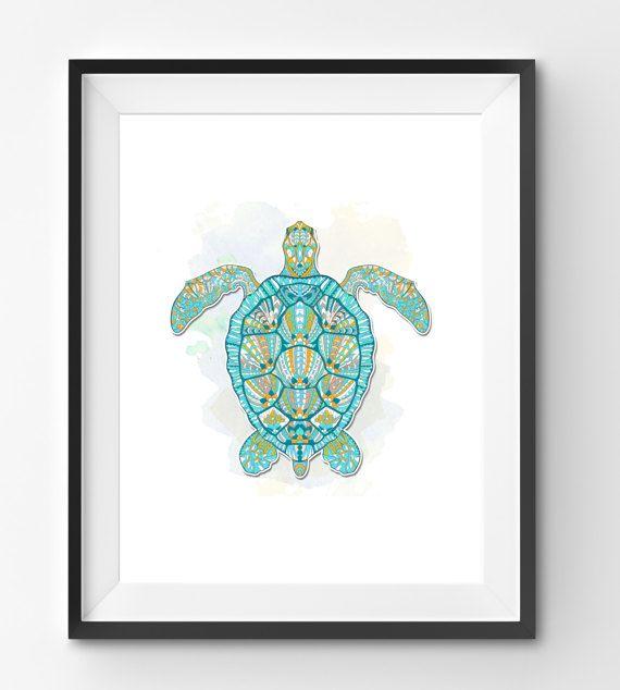 Colorful Turtle Art Turtle Wall Art Mosaic Turtle Print