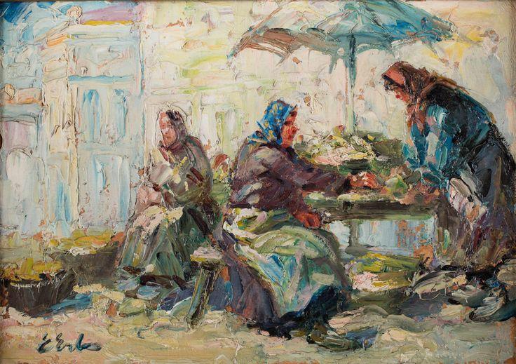 ERNO ERB (1890 - 1943)  PRZEKUPKI   olej, płyta, 25 x 35 cm / sygn. l.d.: E Erb