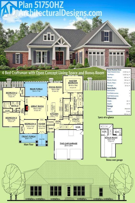 High Quality Architectural Designs Craftsman House Plan 51750HZ Has An Open Concept  Floor Plan And A Bonus Room
