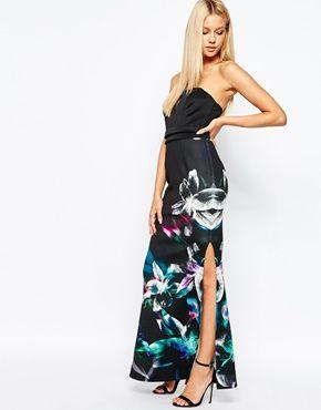 cheap womens air max 90 uk Lipsy Bandeau Fishtail Maxi Dress In Floral Print