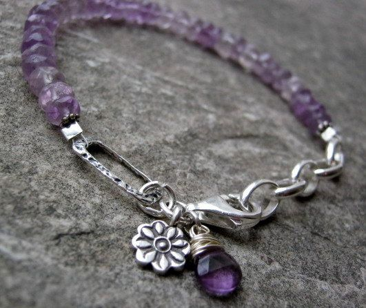 Sterling Silver Amethyst Gemstone Hill tribe by RockCandyjewellery