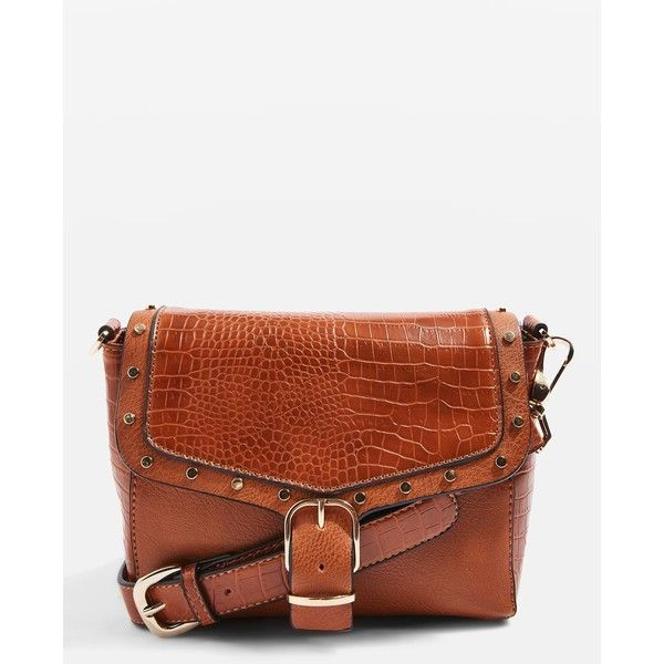 TopShop Romeo Crocodile Effect Cross Body Bag ($48) ❤ liked on Polyvore featuring bags, handbags, shoulder bags, tan, tan shoulder bag, crossbody purses, brown purse, brown shoulder bag and tan handbags