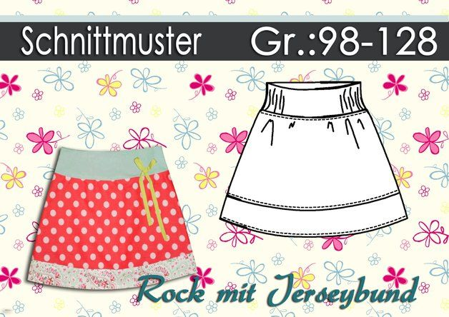 Schnittmuster Rock mit Jerseybund Gr.:98-128  Products and Rocks