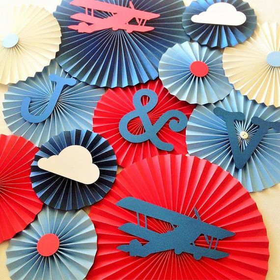 Vintage Airplane Themed Paper Fan Set Set of 13 by LanvisB on Etsy