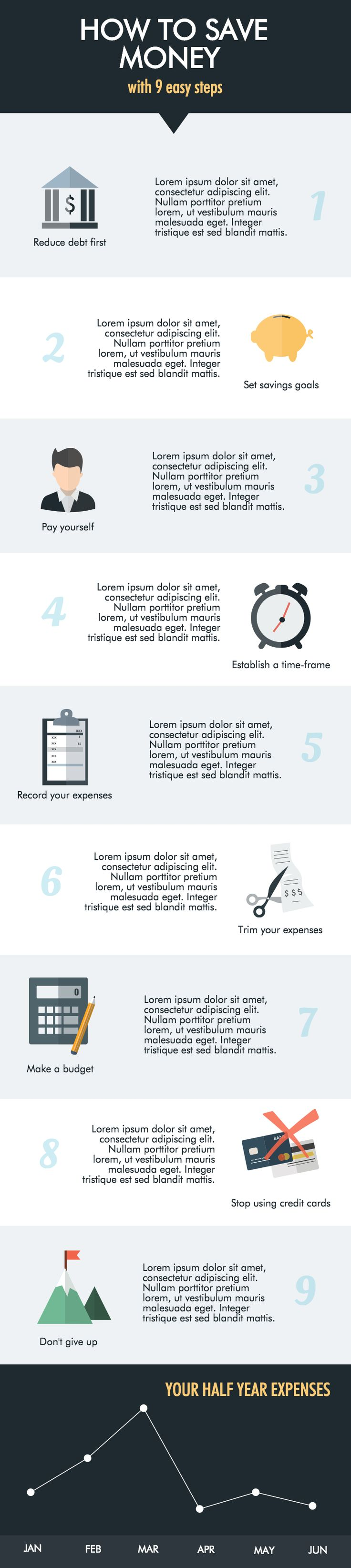 Detailed approach. Step by Step How to Save Money Infographic