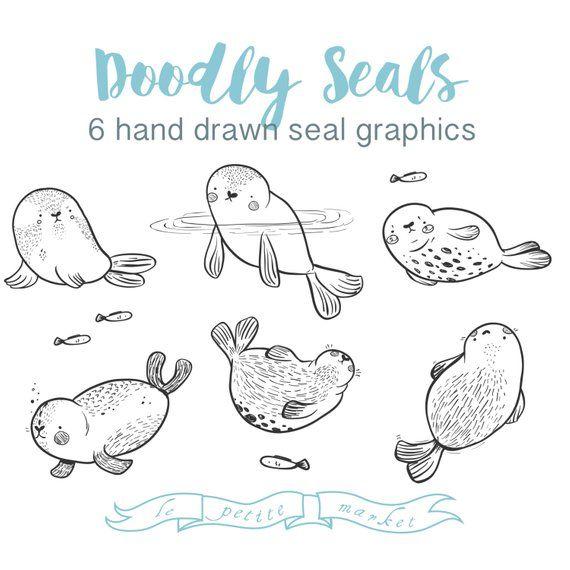 Doodly Hand Drawn Seal Clip Art, Digital Download Illustrated Line Art Seals Clipart, Instant Download Vector Seals