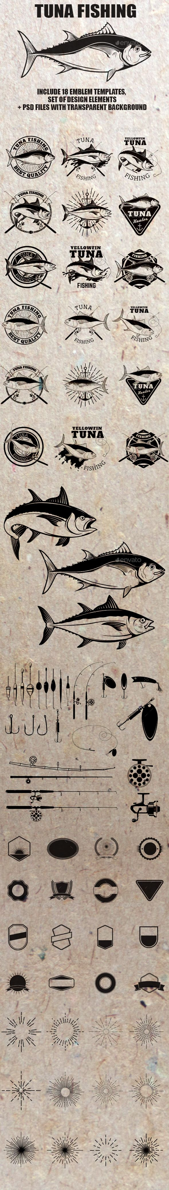 Set of Tuna Fishing Label and Design Elements - Animals Characters