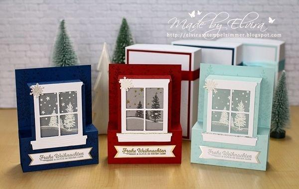 Heute gibt's die zweite Variante meiner Weihnachtskarten. Als ich bei Dawn das Video zu dieser tollen Kartenform gesehen habe, musste ich sie gleich ausprobieren. Da meine Lieblingsfarbe blau ist,versuchte ich zuerst einige Karten in Himmelblau, dann in Marineblau.Je nach Lieblingsfarbe der Empfänger, folgten weiterein Chili, Gartengrün, Espresso……… Kurz gesagt: Ich war im Fenster-Karten-Fieber. Allerdings hat …