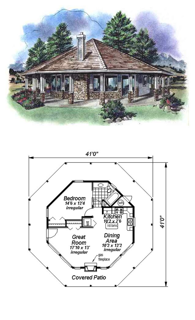 Tiny House Plan 58519 | Total Living Area: 695 sq. ft., 1 bedroom & 1 bathroom. #tinyhouse #houseplan