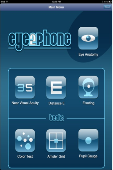 Eye2Phone app is a collection of vision tests & a basic eye anatomy diagram for patient education #eyemedicine #medapps