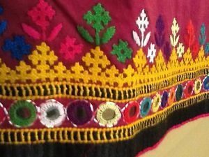 Cotton-Table-Runner-Sindhi-Hand-Embroidery-with-Shisha-Burgundy-14x72