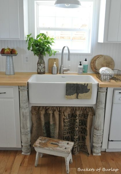 Skirted Sink Kitchen : ... sink kitchen curtains rustic curtains skirt tutorial farmhouse sinks