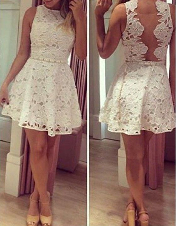 White Flowers Grenadine Hollow-out Round Neck Sleeveless Lace Dress