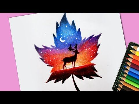 Scenery Drawing Inside Maple Leaf With Colour Pencil Youtube Color Pencil Sketch Colorful Drawings Leaf Drawing