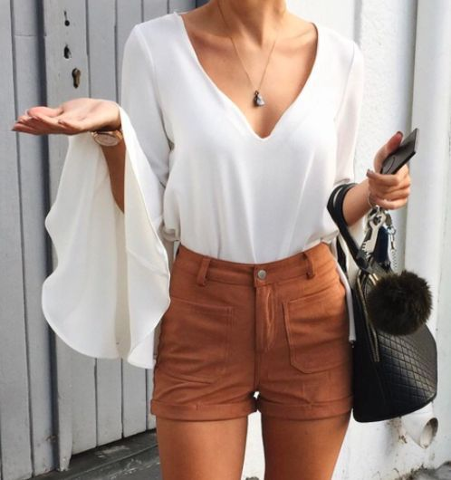 cool bell sleeve + suede shorts #wayf... by http://www.polyvorebydana.us/casual-summer-fashion/bell-sleeve-suede-shorts-wayf/