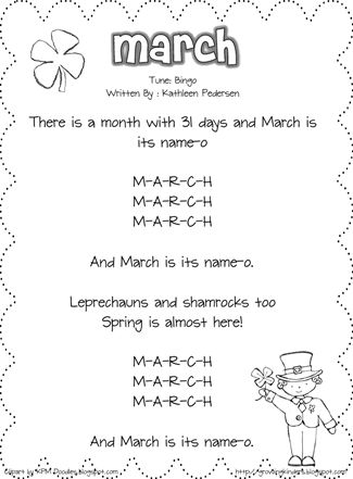 March Song from Growing Kinders. Kathleen has a song for every month of the year #growingkindersfavoritethings