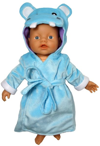 The turquoise velour fabric is lined with soft purple fabric and the cute hippo face is embroidered on the hood. The tie belt is not attached.