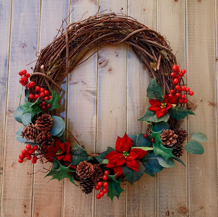Classic Christmas Poinsettia, Berry, and Pine Cone Wreath