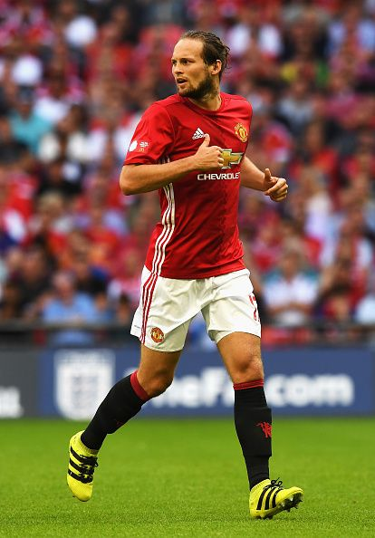 Daley Blind of Manchester United in action during The FA Community Shield match between Leicester City and Manchester United at…