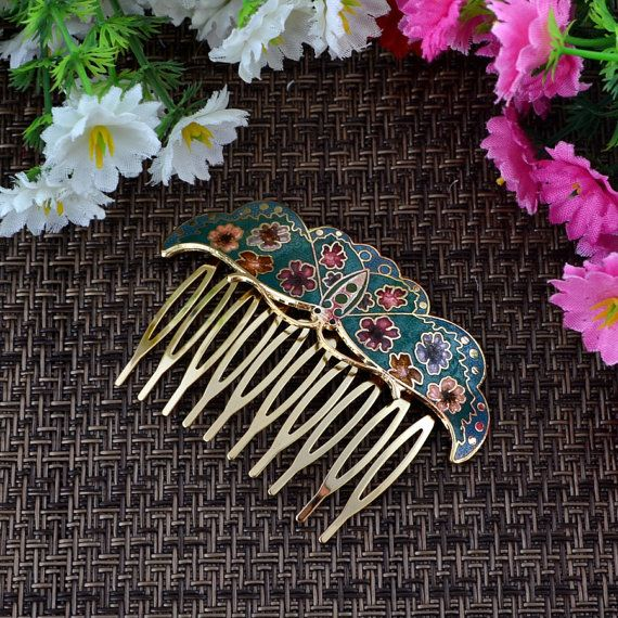 Retro palace delicate comb cloisonne hair by ClutchSupplies